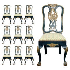 Set of Ten Danish Baroque Painted Dining Chairs