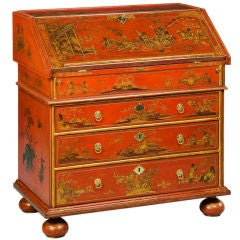 A WILLIAM AND MARY RED JAPANNED BUREAU