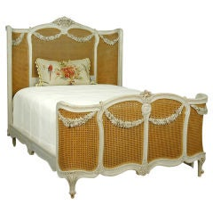 Painted & Cane Bed with Floral Swags