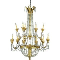 Crystal and Gilt Metal Chandelier thumbnail 1