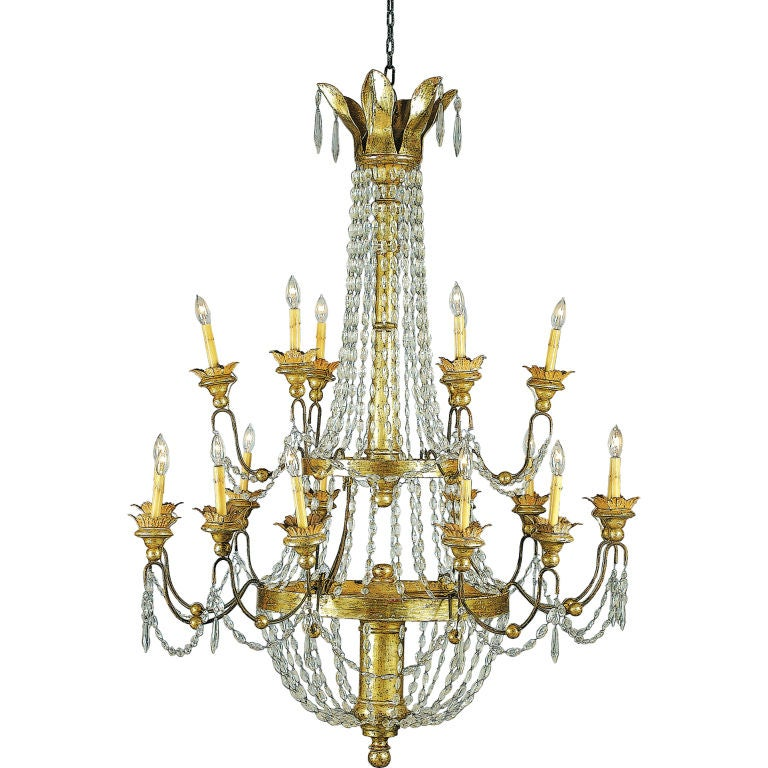 Crystal and Gilt Metal Chandelier