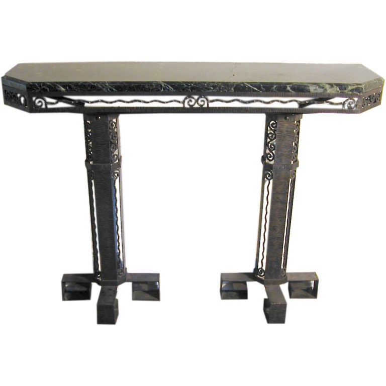 Fer forge wrought iron console table w greek key motif for Table demi lune fer forge