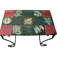 Wrought Iron Table with Quimper Tiles, Aquatic Motif