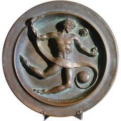 """""""Man in the Cosmos"""" Bronze Plaque by De Weldon"""