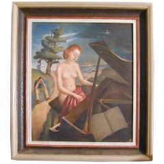 """""""Nude at the Piano,"""" surrealist oil painting"""