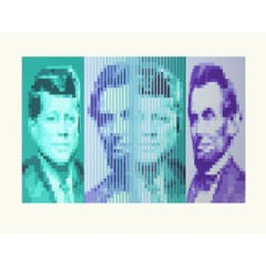 'John F Kennedy - Abraham Lincoln' screenprint by Yvaral