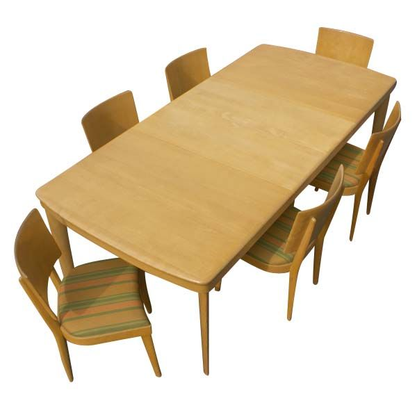 this heywood wakefield rectangular dining table and six chairs is no