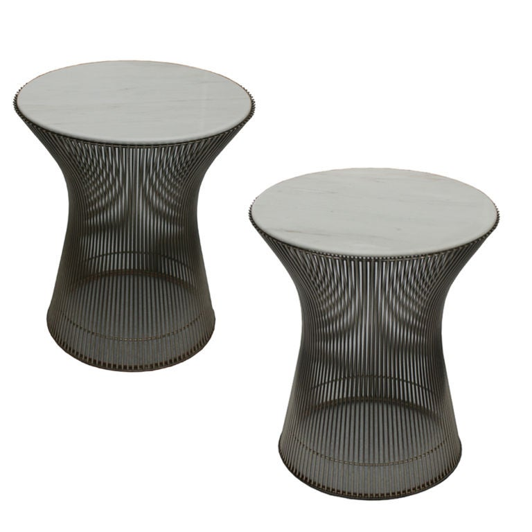 Amazing Pair Of Warren Platner Knoll Marble Side Tables/End Tables 1