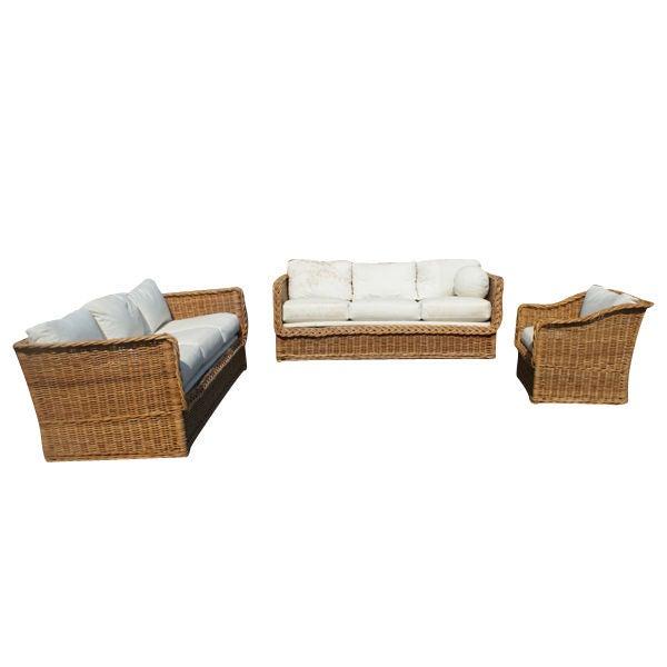 Three piece set of rattan indoor outdoor furniture at 1stdibs for Indoor garden room furniture