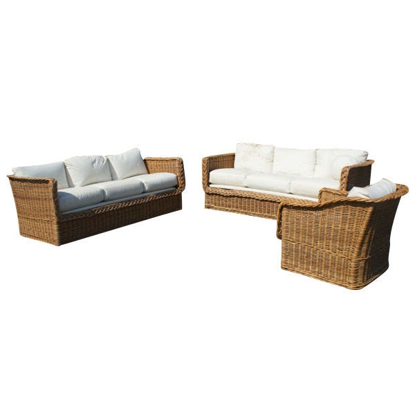 Three Piece Set Rattan Indoor Outdoor Furniture at 1stdibs