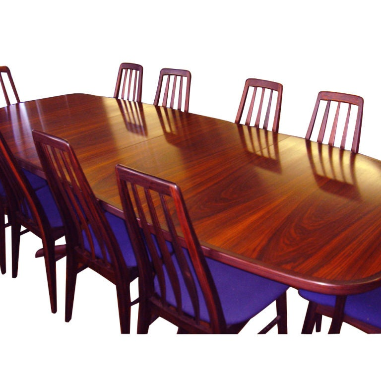 Danish Rosewood Dining Table With Eight Chairs 2