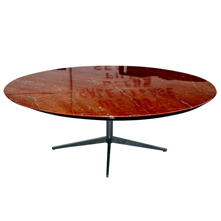 Florence Knoll Large Round Rojo Marble Dining Conference Table : tab1 from 1stdibs.com size 768 x 768 jpeg 36kB