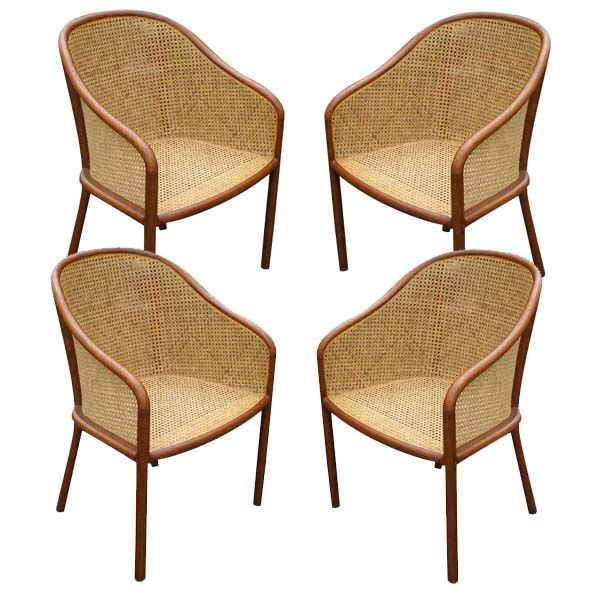 set of four ward bennett cane chairs at 1stdibs. Black Bedroom Furniture Sets. Home Design Ideas