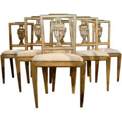 18th Century Italian Set of Six Water Gilded Urn Back Chairs