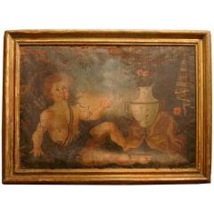 18c Italian Oil Painting with Cherub