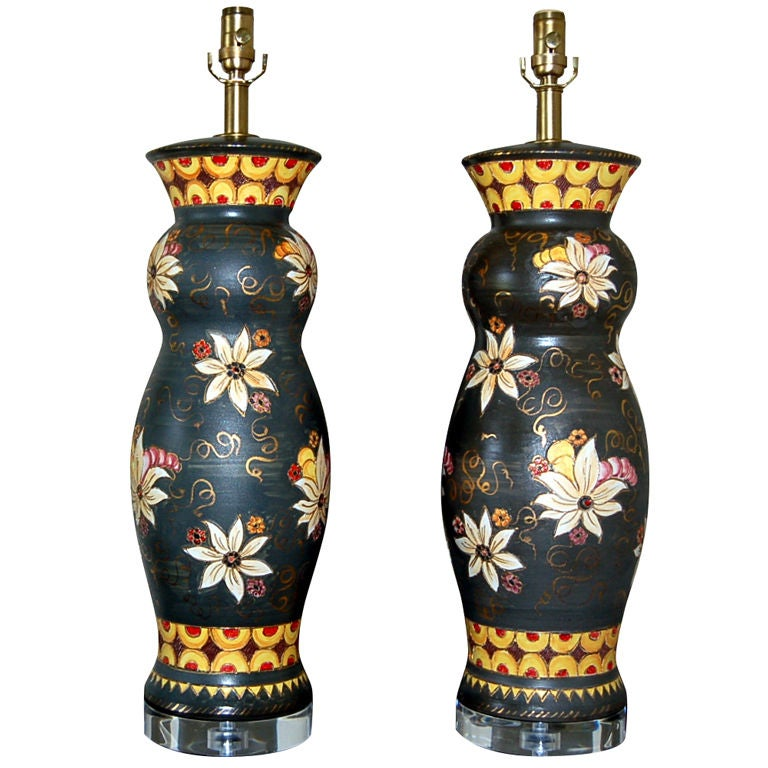 Hand Painted Italian Ceramic Table Lamps By Deruta At 1stdibs
