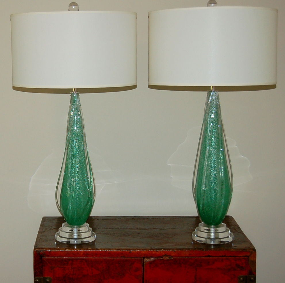 bottle green pulegoso murano glass lamps by seguso for sale at 1stdibs. Black Bedroom Furniture Sets. Home Design Ideas