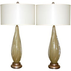 Winged Murano Table Lamps in Soft Caramel