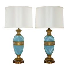 Matched Pair of Opaline Murano Table Lamps by Marbro in Sky Blue