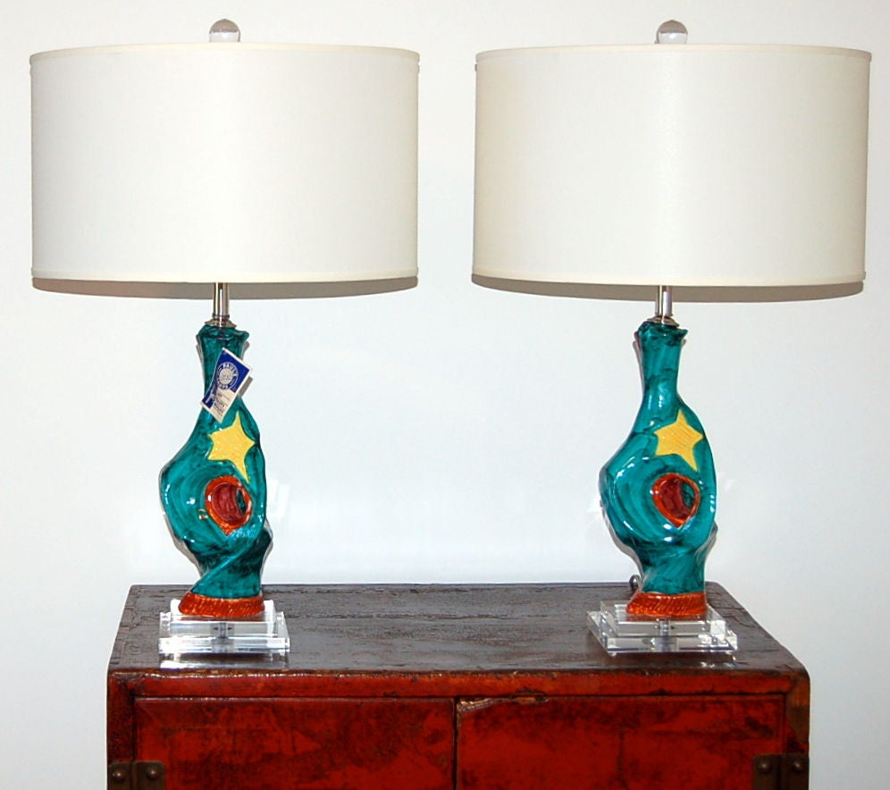 Matched Pair Of Abstract Ceramic Lamps By Deruta For Sale At 1stdibs