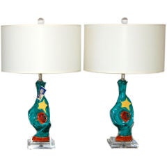 Matched Pair of Abstract Ceramic Lamps by Deruta
