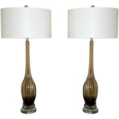 Pair of Vintage Murano Table Lamps in Smokey Bronze by Seguso