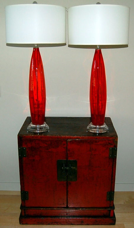 italian chili pepper red glass table lamps for sale at 1stdibs. Black Bedroom Furniture Sets. Home Design Ideas