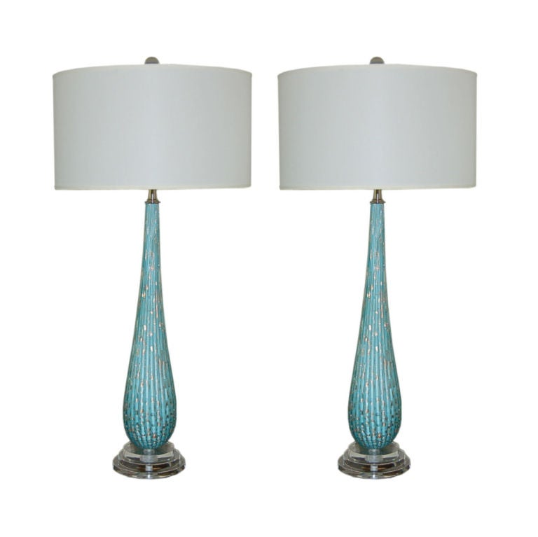 Vintage Murano Table Lamps In Turquoise With Copper Inclusions