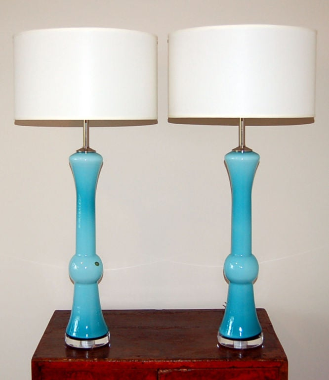 sculptural vintage murano table lamps in cased aqua glass. Black Bedroom Furniture Sets. Home Design Ideas