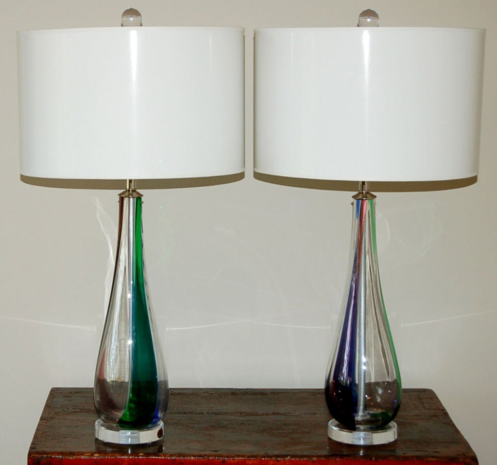 pair of tri colored vintage murano table lamps for sale at 1stdibs. Black Bedroom Furniture Sets. Home Design Ideas