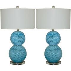 Giorgio Ferro Stacked Murano Ball Lamps with Peacock Design
