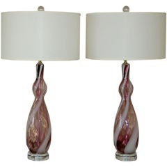 Vintage Pair of Italian Lamps in Grape with White Stripe