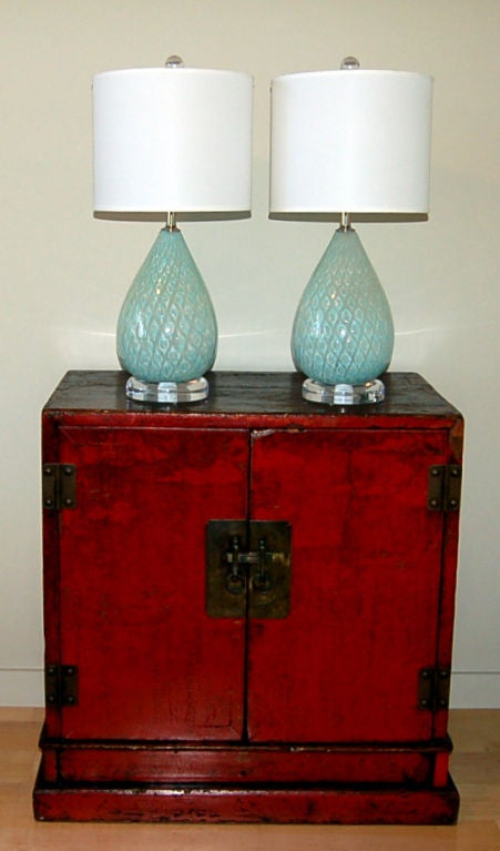 Minty Blue Tear Drop Murano Bedside Table Lamps By Giorgio