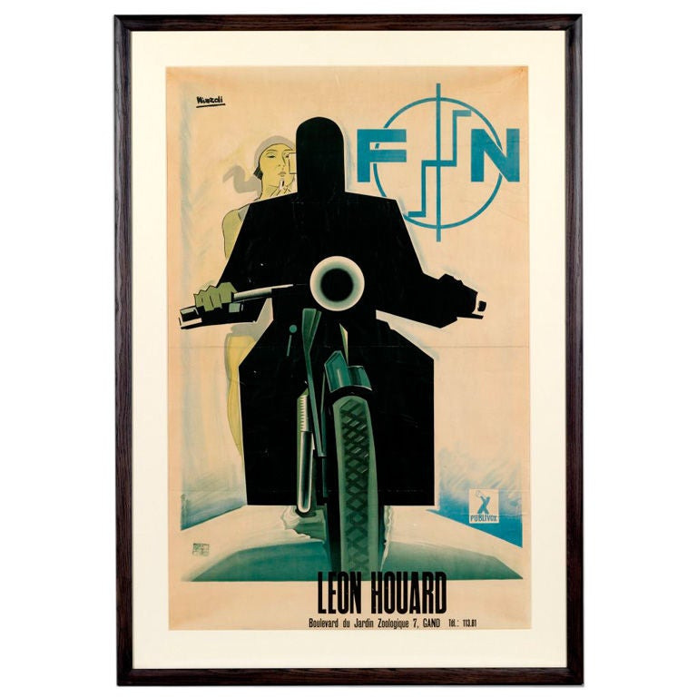 Original 39 fn motorcycles 39 poster by marcello nizzoli 1930 at 1stdibs - Deco herstel ...