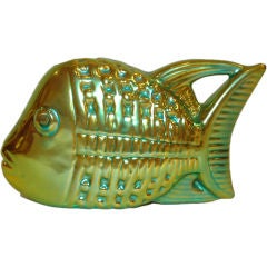 1960s Judit Nador for Zsolnay Iridescent Fish Ceramic with Eosin Glaze