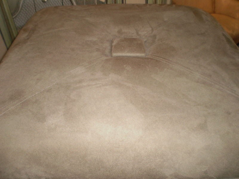 French Art Deco Jules Leleu Inspired Square Ottoman In Good Condition For Sale In Houston, TX