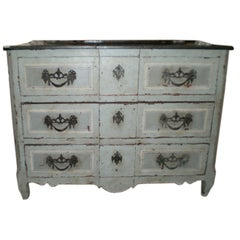 Large 18th Century French Louis XV Three-Drawer Painted Commode
