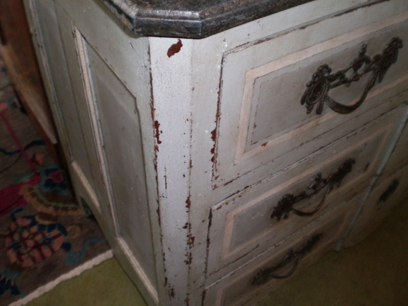 Large 18th Century French Louis XV Blue Painted Commode In Good Condition For Sale In Houston, TX