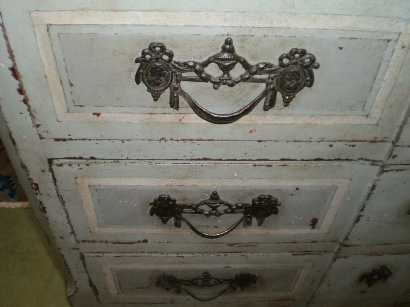 Wood Large 18th Century French Louis XV Blue Painted Commode For Sale