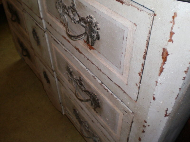 Large 18th Century French Louis XV Blue Painted Commode For Sale 5