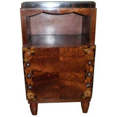 French Art Deco Jules Leleu Inspired Nightstand Or Table With Marble Top