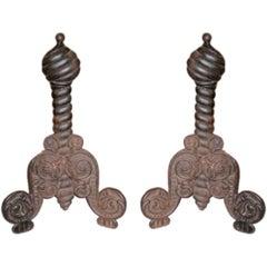 Interesting Pair Of Antique Italian Iron Andirons