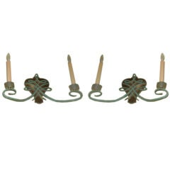 Pair of Jules Leleu Inspired French Art Deco Iron and Bronze Sconces