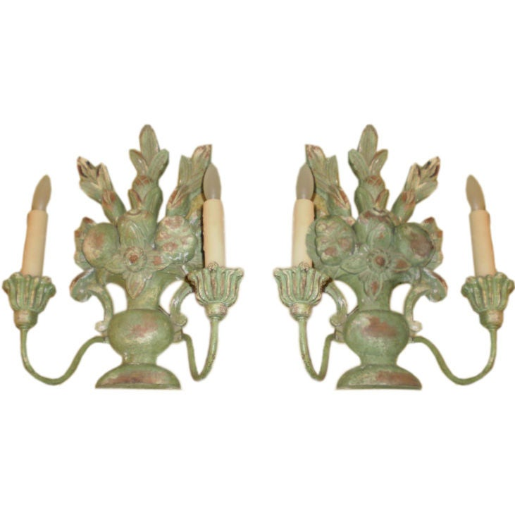 Pair Of Antique Italian Carved Two-Light Wood Sconces