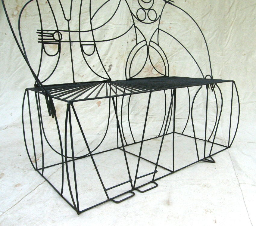 Quot Couple Quot Wrought Iron Bench By John Risley At 1stdibs