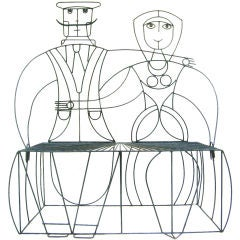 """Couple"" Wrought Iron Bench by JOHN RISLEY"