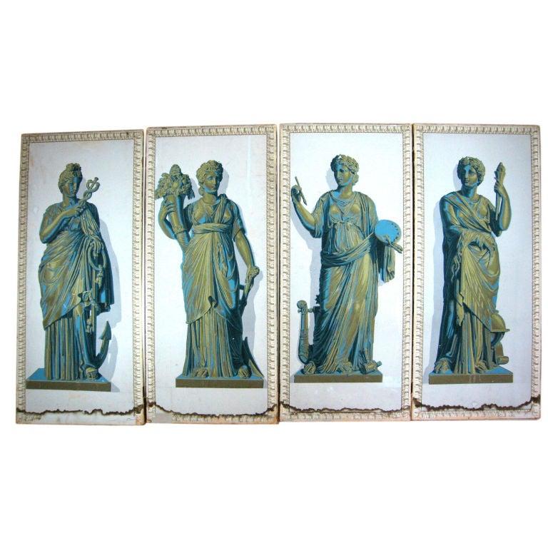 Set of Four Greek Goddesses Wallpaper Panels