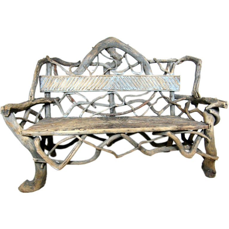 American Rustic Adirondack Twig & Root Bench