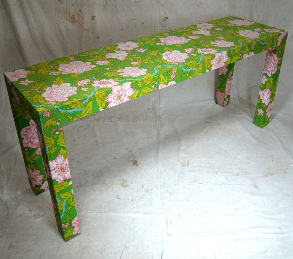 Fabric Covered Sofa Table At 1stdibs