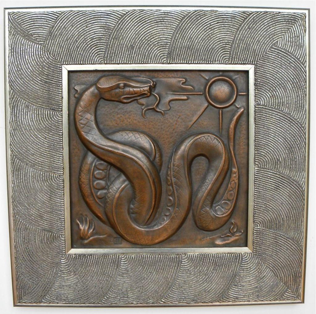 1930s belgian art deco copper wall plaque quintet maredsous image 3. Black Bedroom Furniture Sets. Home Design Ideas